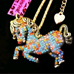 Betsey Johnson Colorful Horse Pendant Necklace Hot